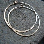 Image of Hand Forged 14K Gold Hoop Earrings
