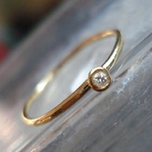 Image of Tiny Diamonds, Solid 14K Gold and Diamond RIng