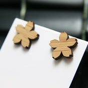 Bamboo Sakura Stud Earrings