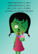 Image of &quot;Zombie Cupcake&quot; greeting card