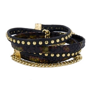 Image of Zan Leather Wrap Bracelet-Black/Iridescent
