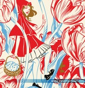 "Image of Little Red Riding Hood and the Big Bad Wolf Botanical Giclee Print 18""x24"""