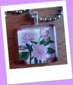Image of Pink Rose Glass Tile Pendant