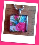 Image of Red Roses Glass Tile Pendant