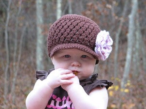 Image of Brown Cluster Beanie with Pink Flower Crochet Pattern