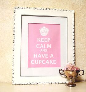 Image of Keep Calm and Have A Cupcake matted print PINK