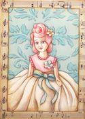 Image of Vintage inspired Pink haired doll print