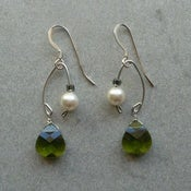 Image of Fishing Lure Inspired Earrings~Olive & Pearl