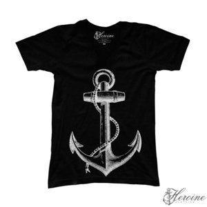 Image of Anchor Black V-Neck Unisex