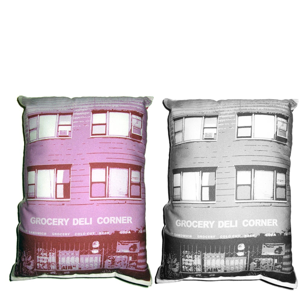 Image of Grocery Deli Corner Building Pillow