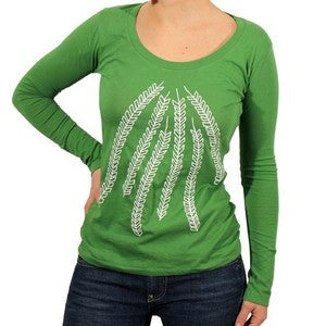 Image of Organic Cotton Arrow Print L/S Scoopneck Tee - (Grass Green)
