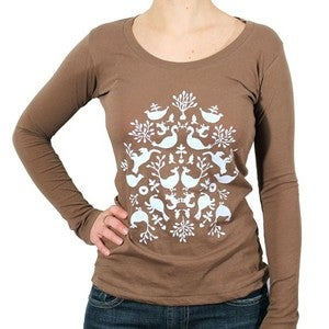 Image of Organic Cotton Folk Print L/S Scoopneck Tee - (Bark)