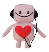 Image of Pink Mini Robot with Headphones Plush Toy