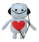 Image of Blue Mini Robot with Headphones Plush Toy