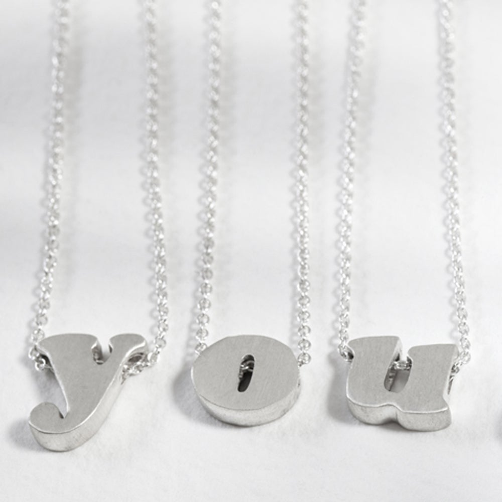 Image of sterling silver block letter initial necklace