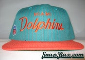 Image of VINTAGE MIAMI DOLPHINS PINSTRPE SCRIPT SNAPBACK