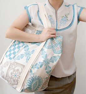 Image of Cotton BAG - Blue/Sand