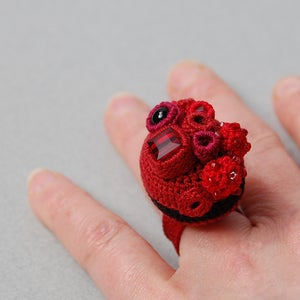 Image of Rich red coral cluster ring