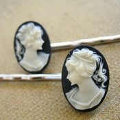 Image of Black and White Cameo Bobby Pins
