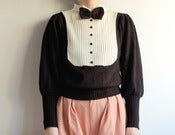 Image of  Vtg Black & White BOWTIE Knit Sweater