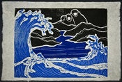 Image of Woodblock Print: Alex Diamond | Wave 001 (Into The Night WP#01)
