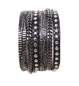 Image of Zan Leather Bracelet-Black/Lizard