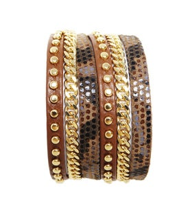 Image of Zan Bracelet-Camel/Snakeskin