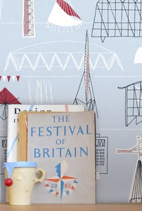 Image of Festival Wallpaper - Bunting Blue and Red