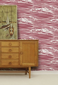 Image of Whitby Wallpaper - Awning Red