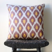 Image of TWO COLOUR Uzbek Ikat, Silk and Cotton Cushion Cover, Pillow, 45 x 45 cm, 18 inch
