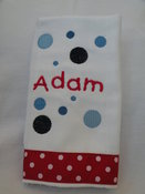 Image of Red Polka Dot Embroidered Burp Cloth