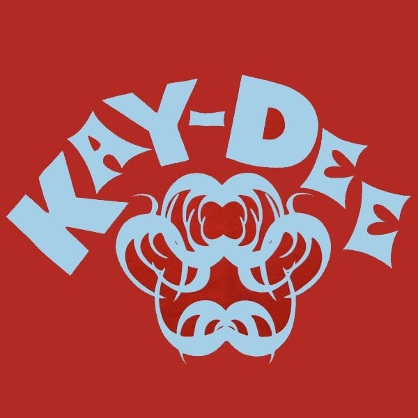 Image of KAYDEE- LT BLUE ON RED