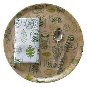 Image of Birchwood round tray {Night Owls}