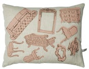 Image of Handmade cushion on natural linen  pink furniture design 