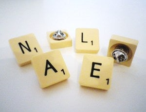 Image of VINTAGE SCRABBLE TILE PIN BADGE