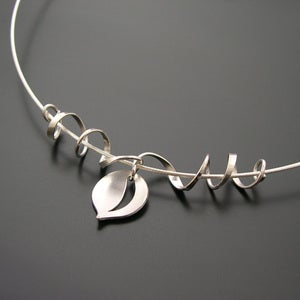 Image of Leaf and Tendril Pendant.  All Silver