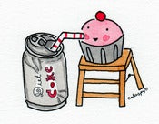 "Image of Original Artwork: Mini Watercolor ""Cuppie With Diet Coke"""