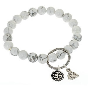 Image of White Turquoise Charmed Bead Bracelet