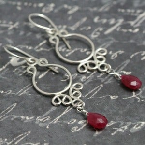 Lava Jewelry  Ornate Ruby Sterling Earrings f09e093 :  sterling silver red earrings metalwork
