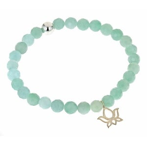 Image of Silver Lotus & Faceted Amazonite Bead Bracelet