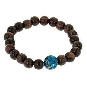Image of Blue Jasper & Wood Bead Bracelet