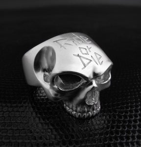 Image of Skull ring &quot;Ride Or Die&quot; (massive silver, argent massif)
