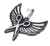 Image of Wing &amp; Shears Necklace STAINLESS Steel (black)