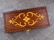 Image of Exotic Wood Shears Case (Hand Carved Detail)