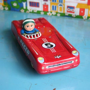 Image of Vintage Tinplate Toy Racing Car