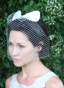 Image of Darling Annabelle - French blusher bridal veil adorned with silk ivory bow