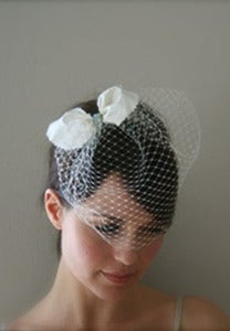 Image of Sugar and Spice - Silk bridal bow paired with birdcage veil