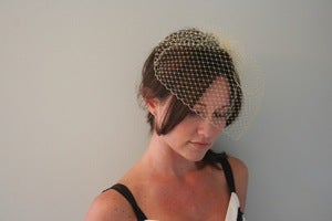 Image of Pale yellow birdcage veil