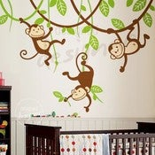 Image of Three Monkeys Swinging on Vines - dd1049 - Kids Vinyl Wall Sticker Decal Art