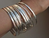 Image of 7 Thin Handmade, Hammered Sterling Silver Stack Bangle Bracelets-Handmade Sterling Silver Artisan Je